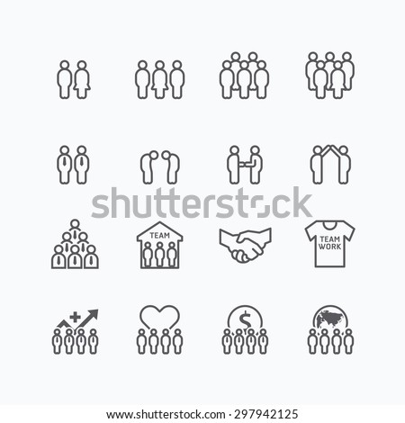 team and business silhouette icons flat line design vector set. teamwork to success concept.