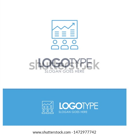 Team, Arrow, Business, Chart, Efforts, Graph, Success Blue outLine Logo with place for tagline