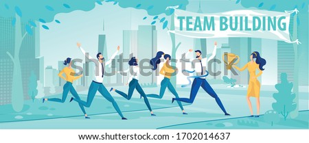 Team Building and Healthy Competition. Cartoon Office Workers, Employee Running Marathon Competitive Race up to Finish. Motivational Flat Poster. Vector City Park over Urban Landscape Illustration