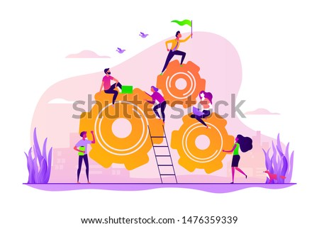 Team building and leadership. Career growth and job opportunities. Dedicated team, software development professionals, business model in IT concept. Vector isolated concept creative illustration