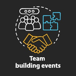 Team building event chalk concept icon. Corporate collaboration activities idea. Teamwork and successful partnership. Employees cooperation. Vector isolated chalkboard illustration