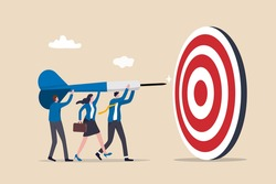 Team business goal, teamwork collaboration to achieve target, coworkers or colleagues with same mission and challenge concept, businessman and woman people help holding dart aiming on bullseye target.