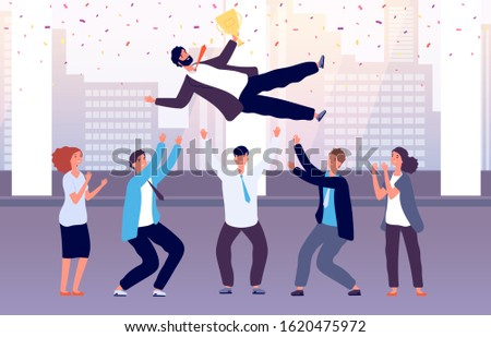 Team celebrates victory. Employees throw colleague up celebrating event. Successful manager with corporate business award vector concept