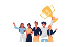 Team celebrating victory, smiling people, champions holding gold cup, trophy, victorious gesture, goal achievement. Successful men, women winning prize concept cartoon sketch. Flat vector illustration