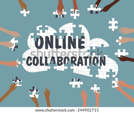 Team Collaboration concept with Hands online in the cloud jigsaw - Grouped and layered EPS10