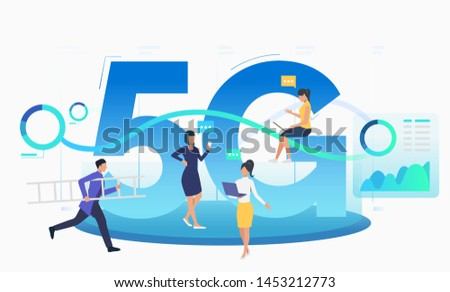 Team communicating and using 5G network. Running support operator carrying ladder. Technology concept. Vector illustration can be used for topics like communication, telecom, internet