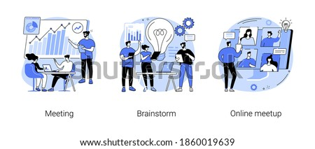 Team communication abstract concept vector illustration set. Meeting and brainstorm, online meetup, corporate presentation, creative ideas and solutions, teamwork, conference call abstract metaphor.