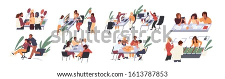 Team creative people having fun at office set vector flat illustration. Collection cartoon character rejoicing break at work isolated on white background. Happy corporate man and woman playing games.