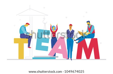 Team - flat design style colorful illustration on white background with bright creative headline. A composition with cute characters, office workers or businessmen working at computers