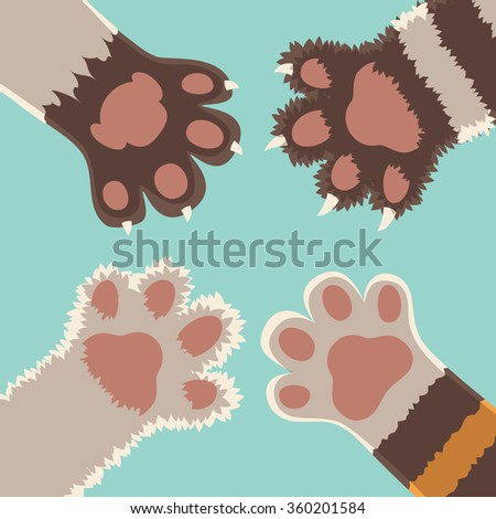 team friendship cats foots