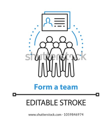 Team gathering concept icon. Teamwork idea thin line illustration. Recruitment. Vector isolated outline drawing. Editable stroke