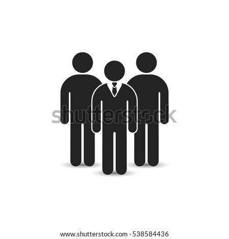Team icon, vector. Leadership business illustration. ?rowd of people illustration.