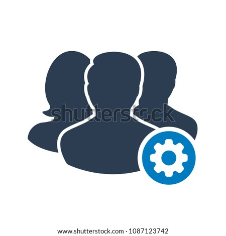 Team icon with settings sign. Team icon and customize, setup, manage, process symbol. Vector illustration