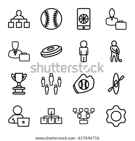 Team icons set. set of 16 team outline icons such as structure, man with laptop, male consultant   with case, woman consultant with case, gear, golf player, football on phone