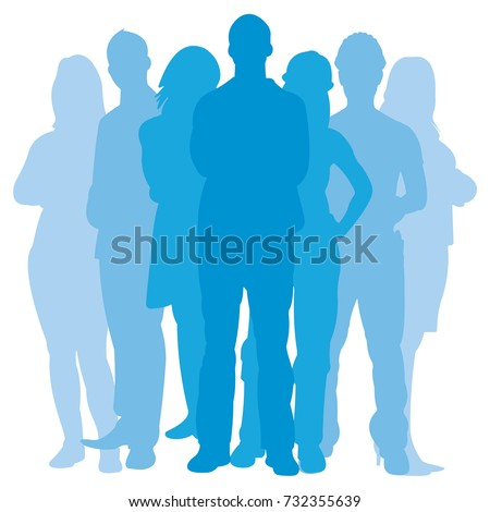 Team Illustration, Group of Business People and Workers Standing Together. Vector Image or Want Ad, Presentation or Other Layouts