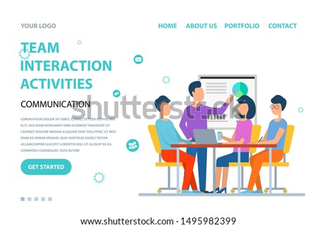 Team interaction activities vector, man and woman sitting by table discussion and brainstorming. Conference and seminar, presentation whiteboard. Website or webpage template, landing page flat style