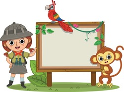 Team Jungle, a girl, a parrot, a monkey standing next to a blank board. Vector illustration.