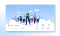 Team Leader Landing Page. Leadership Concept with Flat Business People Characters Website Template. Easy Edit and Customize. Vector illustration