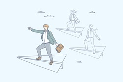 Team, leadership, goal, motivation, business concept. Team of young business people clerks managers flies on paper plane together. Businessman leader stands on plane, points direction forward to goal.