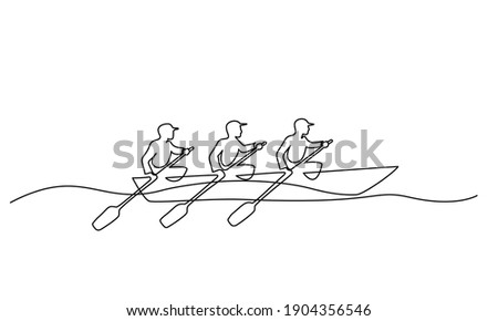 Team member rowing boat Teamwork concept. Continuous one line drawing design. Vector illustration Foto stock ©