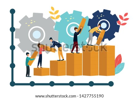 Team metaphor. Little people connecting the elements of the columns. Vector flat style illustration. Symbol of teamwork, cooperation.