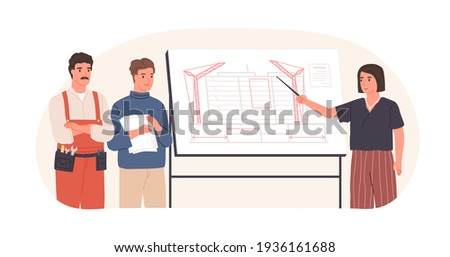 Team of architect, construction engineer and foreman discussing building project. Woman showing real estate drawing on office board. Colored flat vector illustration isolated on white background Foto stock ©