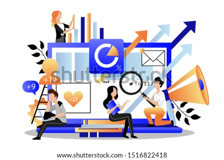 Team of business marketers analyzes data, develops product promotion strategy in social networks. Vector flat cartoon illustration. Digital marketing searching trends concept.