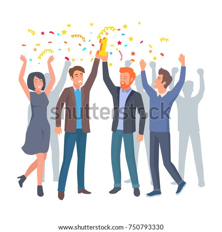 Team of colleagues celebrate win in startup project. Happy co-workers with hands up hold prize for first place vector illustration