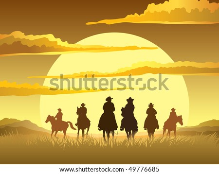 team of cowboys silhouette