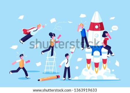 Team of developers beginning new startup vector illustration. People working on new challenging project flat style concept. Workers developing blueprint. Businness concept