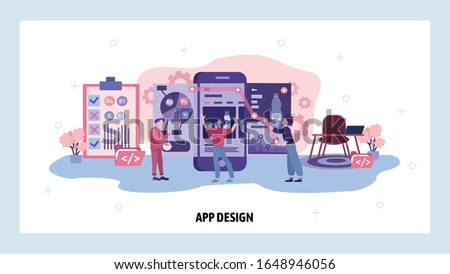 Team of developers build a food app for mobile phone. Teamwork, application design, online grocery store. Vector web site design template. Landing page website concept illustration