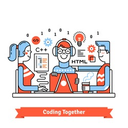 Team of developers working together on a new technology business project startup. Design, programming and management sitting at the same desk. Thin line art flat illustration with icons.
