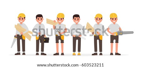 Team of many various carpenters, foreman, engineer, joiners and woodworkers. Vector illustration in flat style