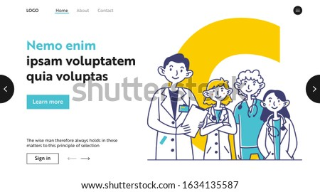 Team of medical practitioners. Doctors in white coats and scrubs with stethoscopes flat vector illustration. Physicians, medicine, occupation concept for banner, website design or landing web page
