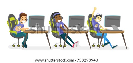 Team of multiethnic teenage gamers playing video game on a cybersport tournament. Group of african, caucasian, asian boys in headsets playing electronic sports. Vector isolated cartoon illustration.