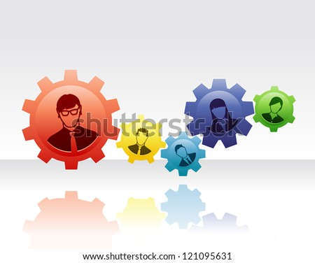 Team of people connected with gears to form a efficient and effective system