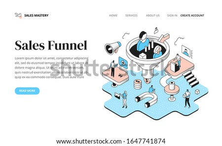 Team of people managing the sales funnel process. Planning revenue, analyze information, segmenting customers, lead generation strategy. Banner for a landing page with isometric outline illustration