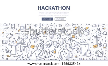 Team of programmers, web developers, designers, project managers collaborate on software project objectives. Hackathon event doodle concept illustration for web banners, hero images, printed materials