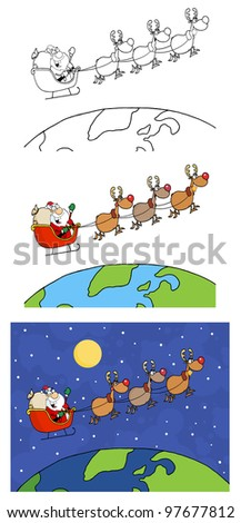 Team Of Reindeer And Santa In His Sleigh. Vector Collection