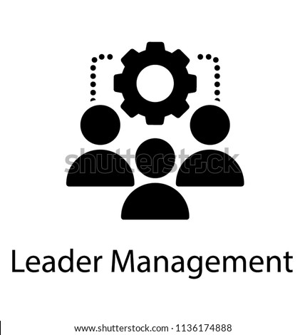Team of some employees, workers, or humans attached via a dots to a ratchet wheel, graphical appearance for leader management icon