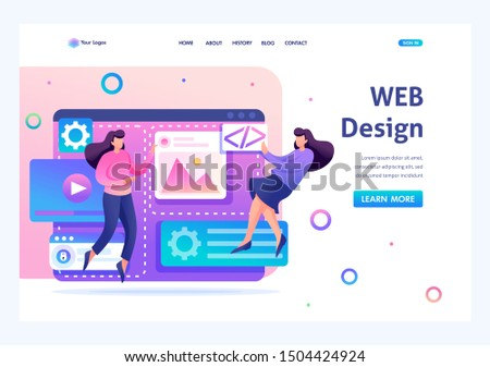 Team of specialists is working on the creation of web design. Concept of teamwork. Flat 2D character. Landing page concepts and web design