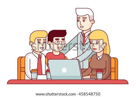 Team of young employees showing their project to chief executive manager or ceo. Business man encouraging his workers. Modern flat style thin line vector illustration isolated on white background.