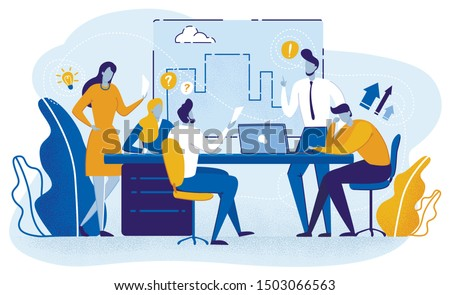 Team Planning Project and Doing Presentation on Meeting Flat Cartoon Vector Illustration. Characters Sitting at Table and Discussing Plan, Creating Draft. Business People Engineers Generating Ideas.