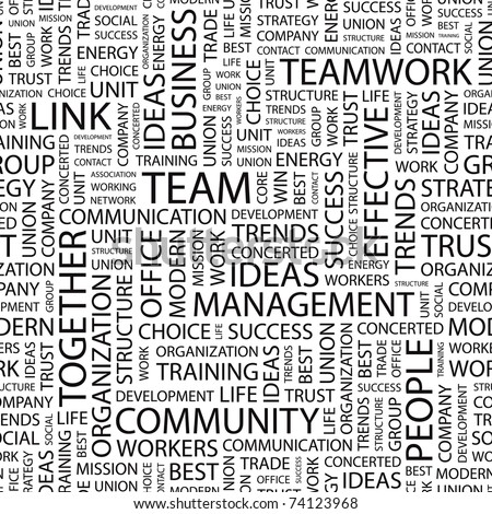 TEAM. Seamless vector pattern with word cloud. Illustration with different association terms.