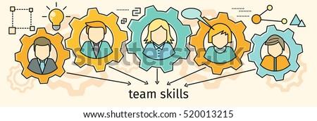 Team skills banner. Avatar in gear. Team building, workshop, training skill, develop ability, expertise, business people teamwork, personal development growth, team leader skills concept. Line art