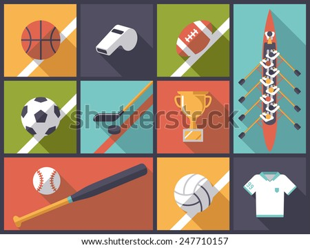 team sports flat design vector