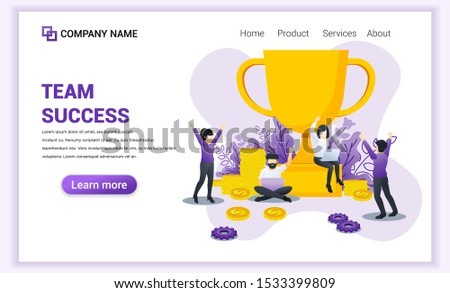 Team success concept. Achievement, Partnership, Leadership, Successful teamwork with giant golden trophy. Can used for web banner, infographics, landing page, web template. Flat vector illustration