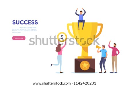 Team success. Teamwork. Together. Miniature people. Cartoon illustration vector graphic on white background.