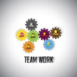team & teamwork of corporate employees & executives - concept vector graphic. This illustration can also represent worker management, gears & cogwheels working together, flat design