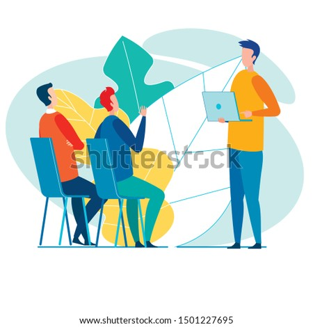 Team Three Male Office Workers, Actively Discussing New Business Project, Its Developer Standing with Laptop and Speaking, and Two Others Sitting on Chairs, Listening, Asking Qualifying Questions